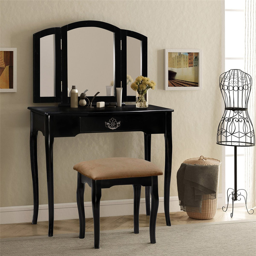 Vanity Set Make-up Dressing Table with Mirror and Cushioned Stool