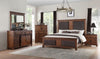 Vibia Queen Bed in Brown Fabric | Cherry Oak