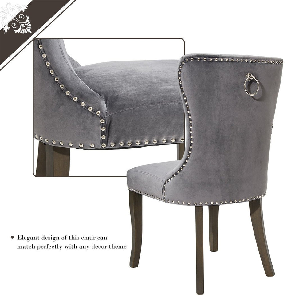 Victorian Dining Chair Button Tufted Armless Chair Upholstered Accent Chair | Nailhead Trim