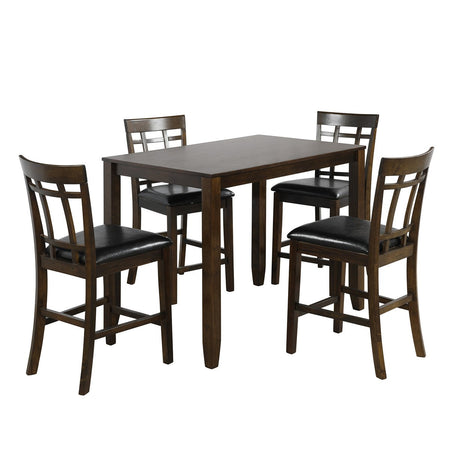 Vintage Rectangular Counter Height Bar Table with 4 Chairs | Wood Dining Table and Chair Set