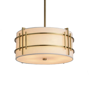 Warm Brass Pendant Light with White Shade