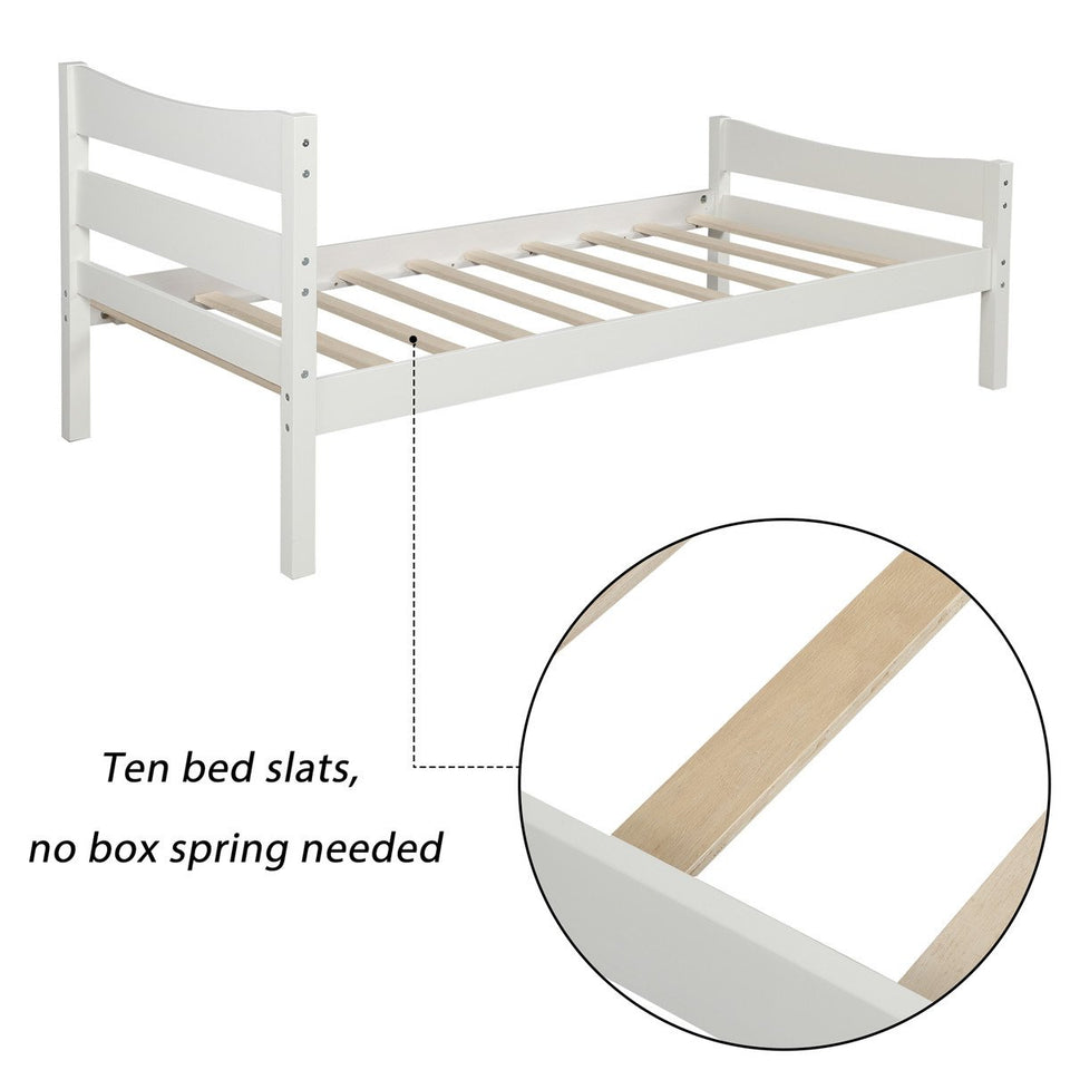 Wood Platform Bed with Headboard and Wooden Slat Support White