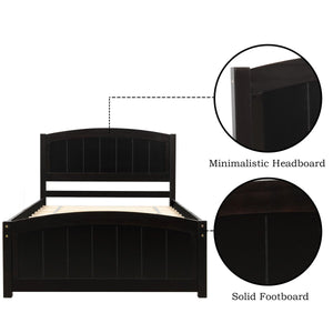 Wood Platform Bed with Headboard | Footboard and Wood Slat Support | Espresso