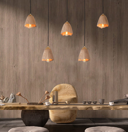 Wooden Bell Pendant Light