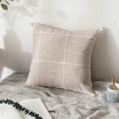 Simple Plaid Embroidered Cushion Cover