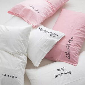 Cotton Embroidered Heart Pillowcase