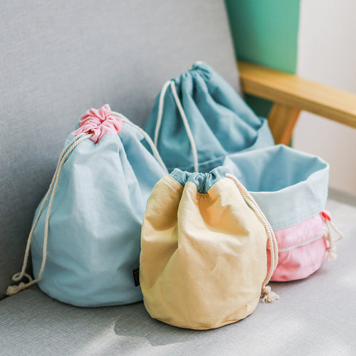 Canvas Drawstring Bucket Storage Bag