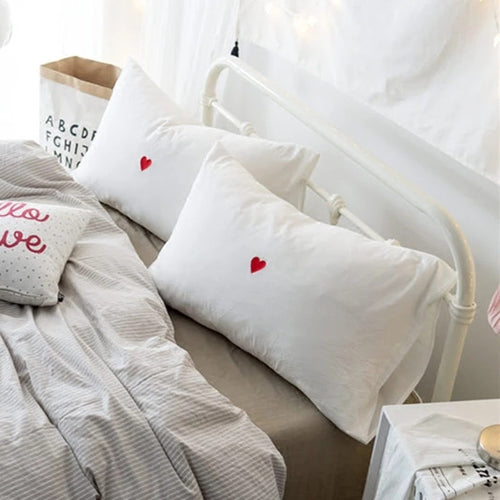 Cotton Embroidered Red Heart Pillowcase