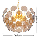 Glass Shade Circular Golden Lighting