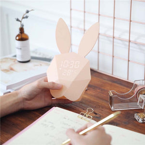Voice control Thermometer Rabbit Shape Clock