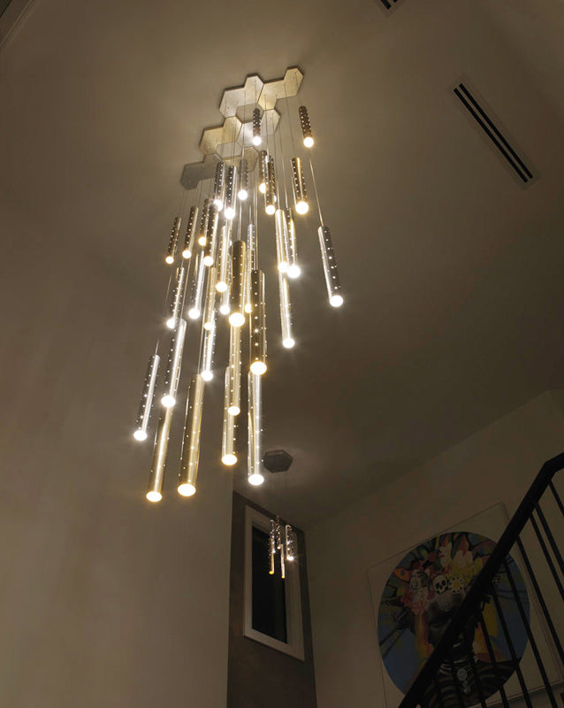 Sparkling Long Cylindrical Chandelier