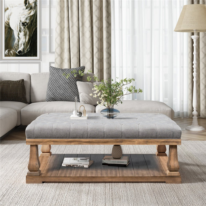 Upholstered Storage Bench in Grey