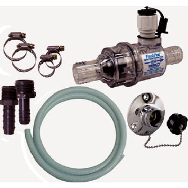 FLUSH PRO COMPLETE KIT WITH THRU HULL FITTING AND HOSE FOR 1 ONE INCH BY PERKO FLUSH KIT