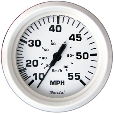 SPEEDOMETER EURO DRESS WHITE INBOARD 55 MPH - FARIA BEEDE INSTRUTMENTS
