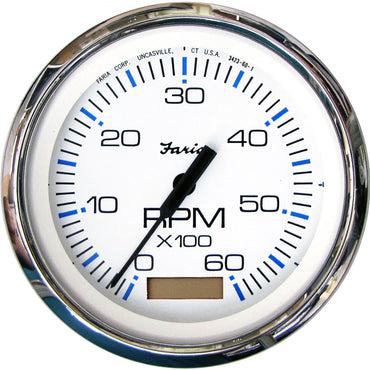 TACHOMETER WITH HOURMETER CHESAPEAKE WHITE SS INBOARD OR IO 6K RPM - FARIA BEEDE INSTRUMENTS