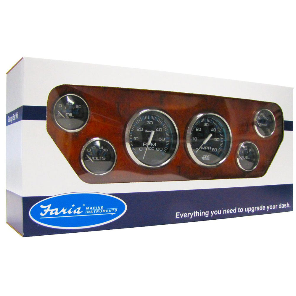 GAUGE SET WITH GPS SPEEDOMETER - SS BLACK WITH 6 GAUGES FARIA CHESAPEAKE