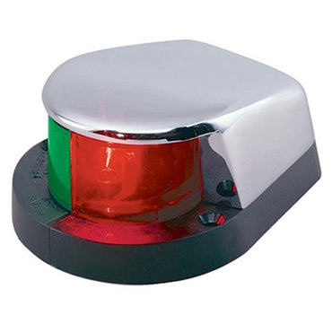 This Perko Bi-Color Boat Bow Light with Deck Mount features a black polymer base with a chrome plated zinc alloy top.