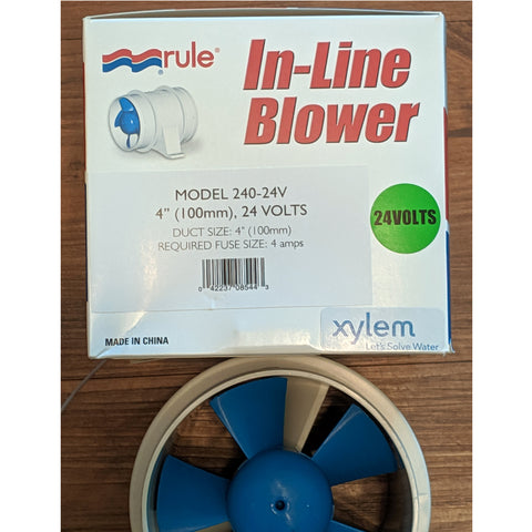 Blower 4 Inch <b>24 Volt</b> In-Line White Rule Water Resistant
