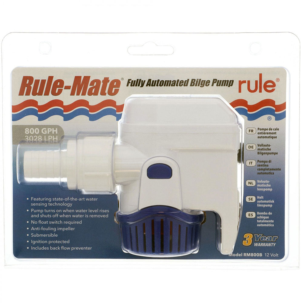 BILGE PUMP 800 GPH RULE-MATE AUTOMATIC BILGE PUMP 12V RM800B