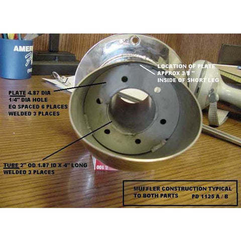 "45° Straight Cut Pipe Exhaust Outlet With Angled Flange 3-1/2"" WITH BAFFLE!"