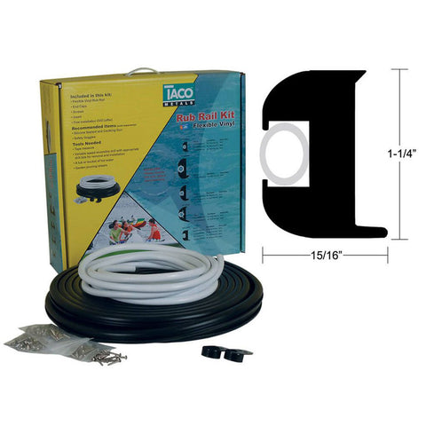 "Taco Marine 1-1/4"" X 15/16"" x 50' Flexible WHITE Rub Rail KIT With WHITE Insert V11-3447WWK502"