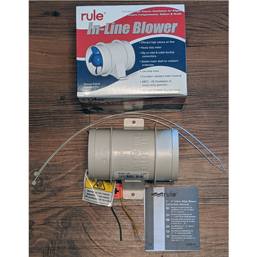 BLOWER 3 INCH 12V IN-LINE WHITE RULE WATER RESISTANT