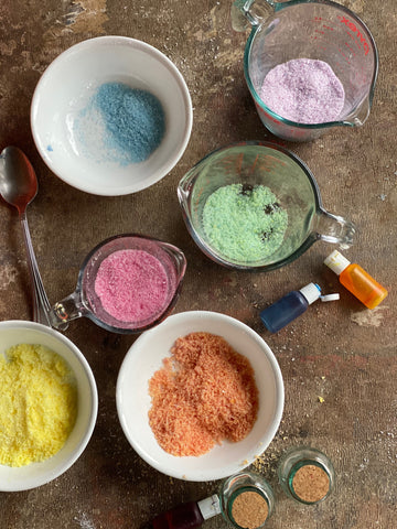 naturally dyed bath salts by Moon Magic Co