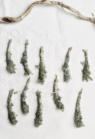 get ready to hang dry wormwood  smudge sticks