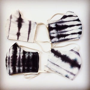 Organic face mask, Shibori Black horizontal 1 inch, hand dyed size S,M,L,XL, elastic around head
