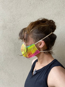 Organic face mask, rainbow, hand dyed size S,M,L,XL, elastic around head