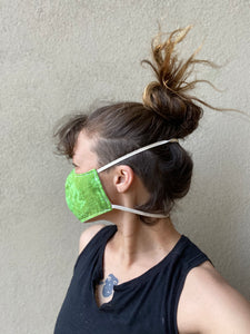 Organic face mask, Avocado green, hand dyed size S,M,L,XL, elastic around head