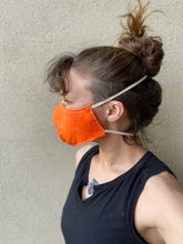 Organic face mask, orange, hand dyed size S,M,L,XL, elastic around head