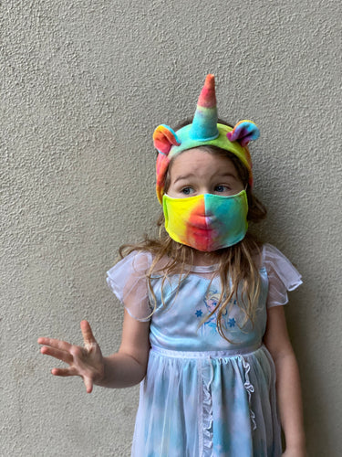Organic unicorn headband, hand dyed in rainbow