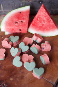 Organic Watermelon Soap heart drops, palm free, vegan
