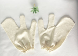Garshana Gloves, raw silk massage gloves, ayurvedic dry brush massage