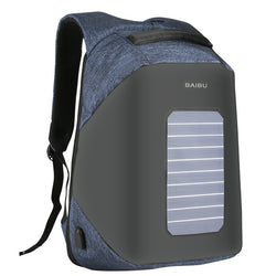 Men's Solar Powered USB Charging Backpack Anti Theft Waterproof Shakeproof Travel Backpacks 16 Inch Laptop Bag
