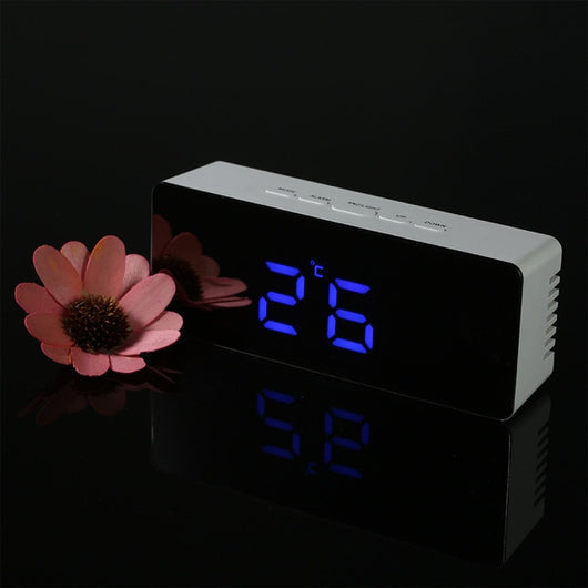 Digital LED Alarm Clock 12H/24H Alarm and Snooze Function Mirror Clock Indoor Thermometer Electronic Desktop Table Clocks USB