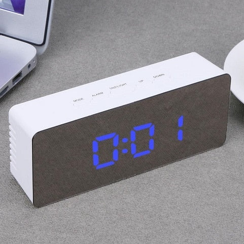 LED Alarm Clock Digital Electronic LED Mirror Clock Temperature Snooze Large Display Home Decor Mirror Function Despertador