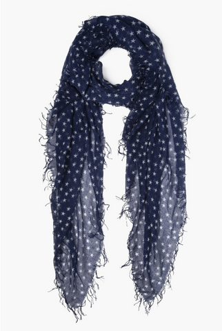 Chan Luu Cashmere Scarf in Outer Space and White Stars