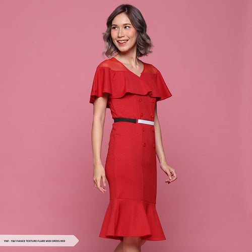 Y&F Fiance Texture Flare Regular Midi Dress