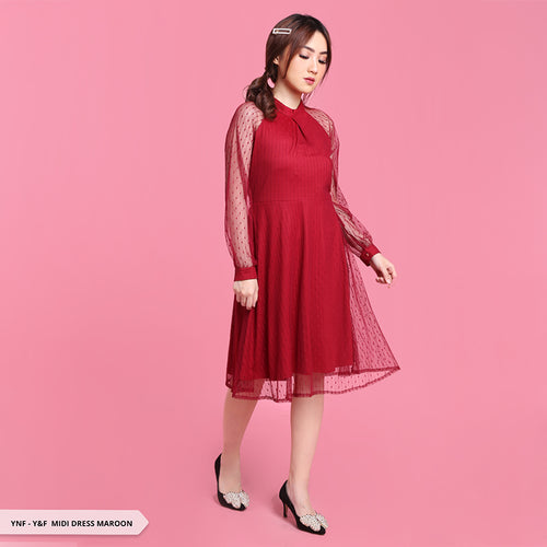 Y&F Aynoor Brukat Raglan Regular Midi Dress SALE 40%