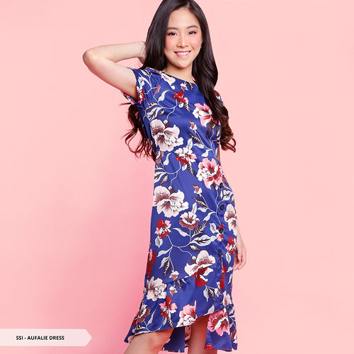 Aufalie Flowery Ruffle Regular Midi Dress Sale 35%