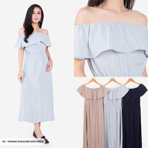 Yoghae Plain Cold Shoulder Regular Mini Dress Sale 35%