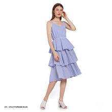 Load image into Gallery viewer, Stilo Purnima Stripe Ruffle Regular Midi Dress SALE 40%