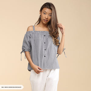 Basca Varuni Checked Off Shoulder Regular Blouse