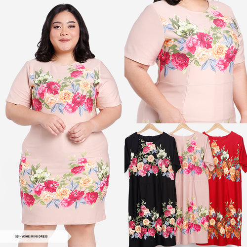 Ashe Flowery Bodycon Big Mini Dress