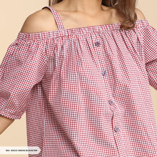 Load image into Gallery viewer, Basca Varuni Checked Off Shoulder Regular Blouse