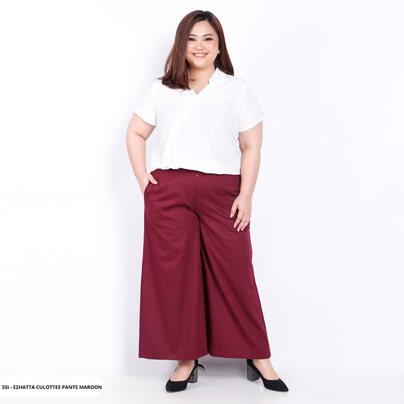 Ezhatta Plain Casual Big Culottes Pants