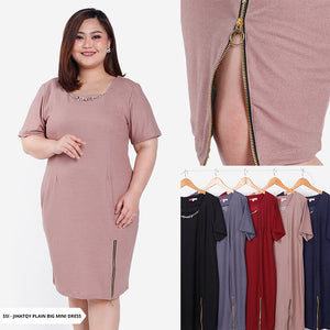 Jihatqy Plain Bodycone Big Mini Dress