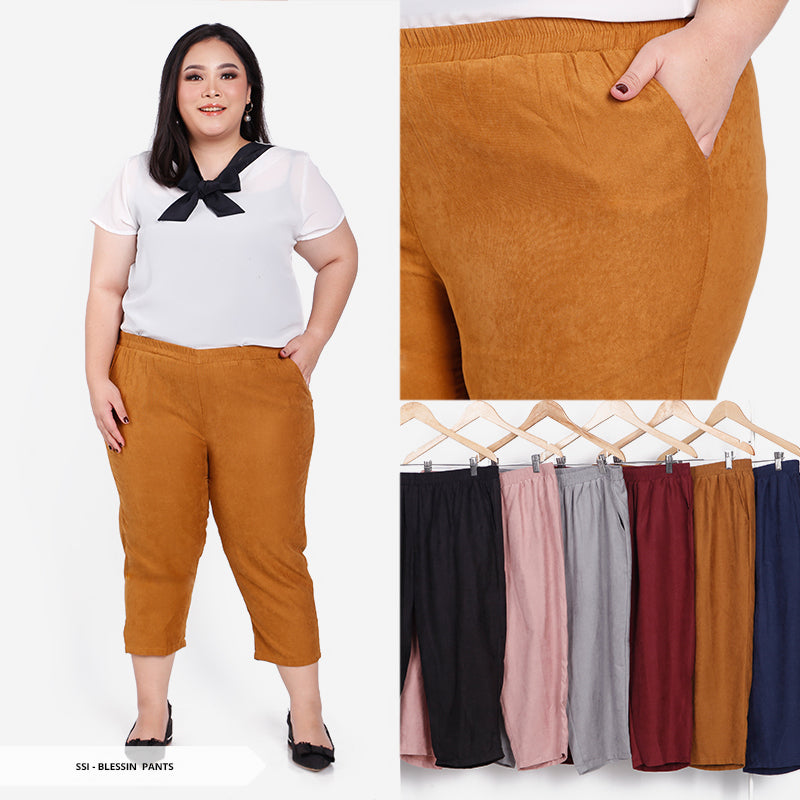 Blessin Plain Basic Big Long Pants SALE 55%